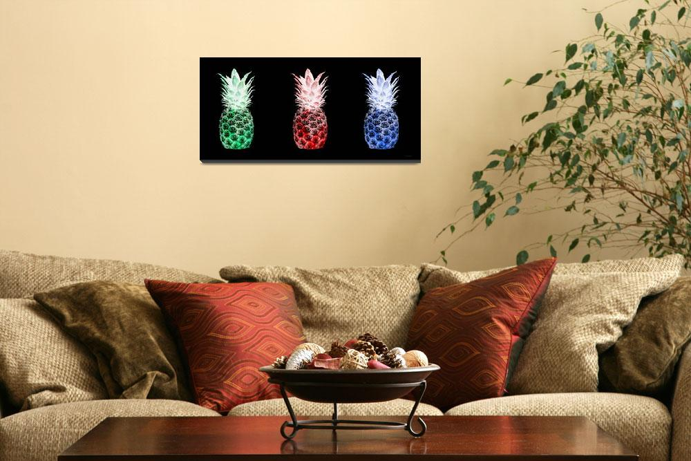 """""""Triptych 14M2 Pineapples Green Red Blue Cuisine&quot  (2016) by Ricardos"""