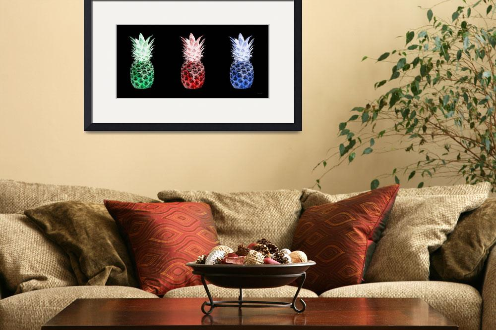"""Triptych 14M2 Pineapples Green Red Blue Cuisine&quot  (2016) by Ricardos"