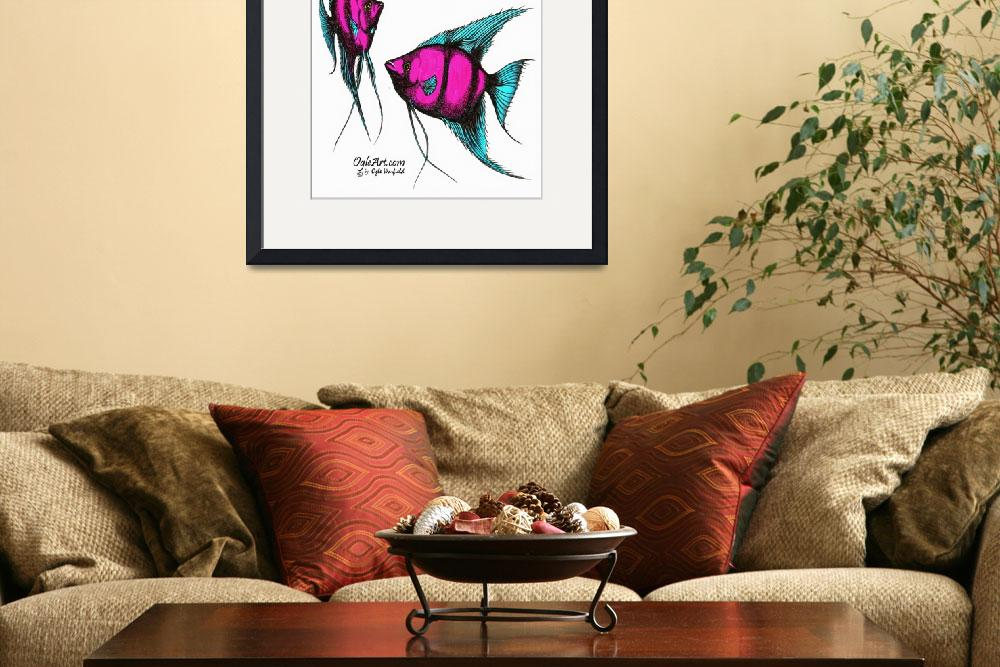 """""""AngelFish-pink-blue&quot  (1990) by OgleWarfield"""