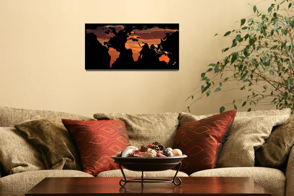 """""""World Map Silhouette - Romantic Sunset&quot  by Alleycatshirts"""