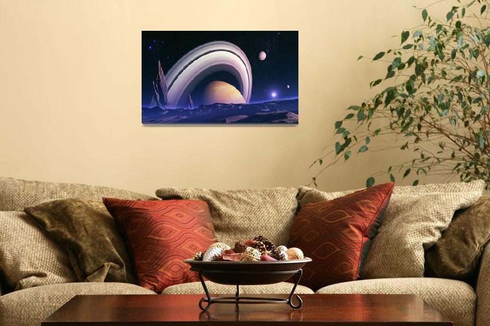 """Ancient giants - space landscape""  by fantasyart"