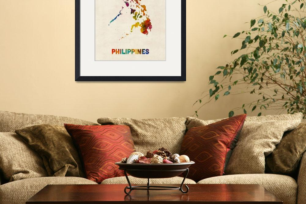 """""""Philippines Watercolor Map&quot  (2015) by ModernArtPrints"""