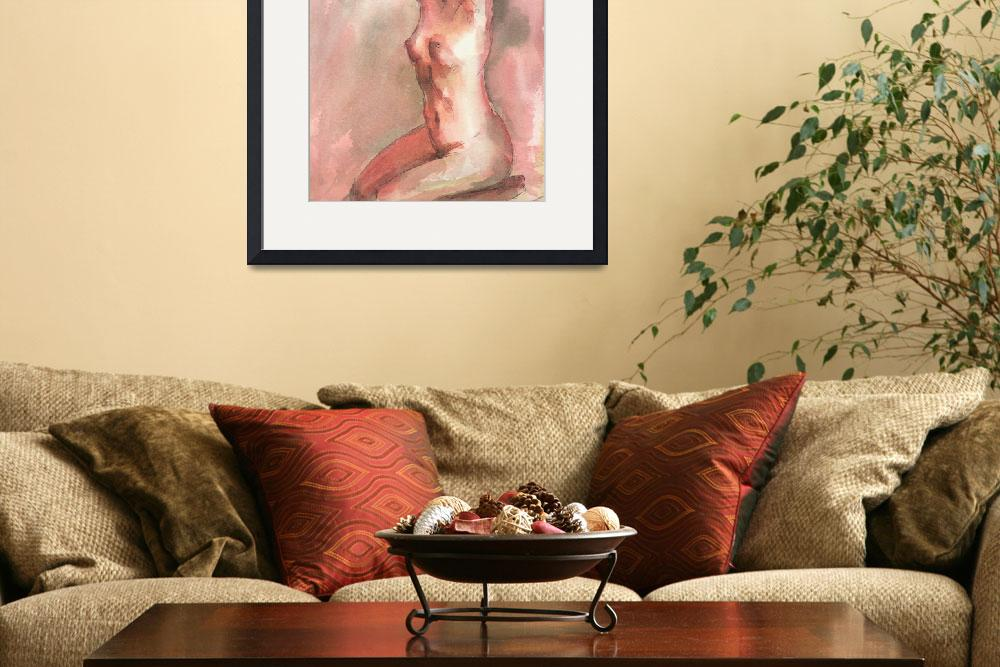 """""""Red Female Nude Figure Study&quot  (2008) by tolunart"""