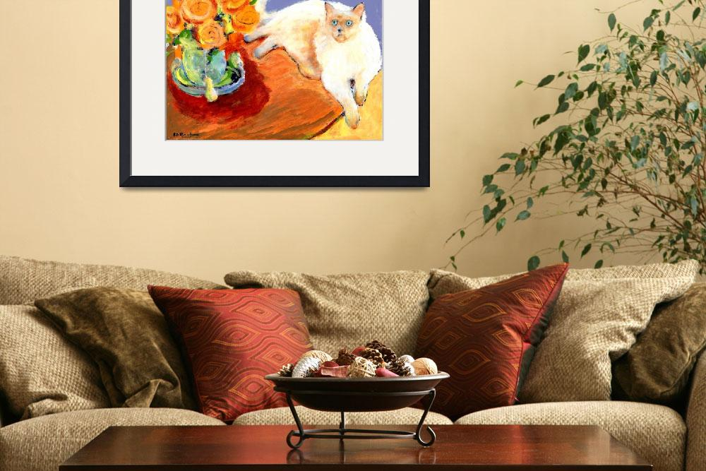 """Cat and Flowers, painting by RD Riccoboni&quot  (2009) by RDRiccoboni"