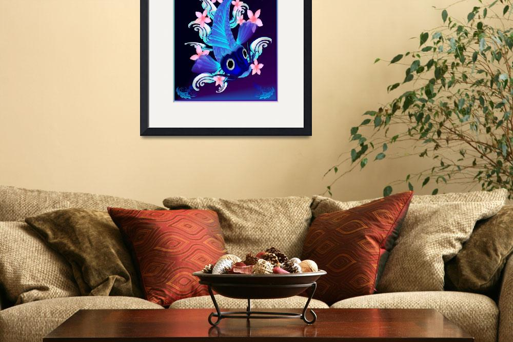 """""""Blue Koi-Pink Flowers&quot  (2012) by Lotacats"""