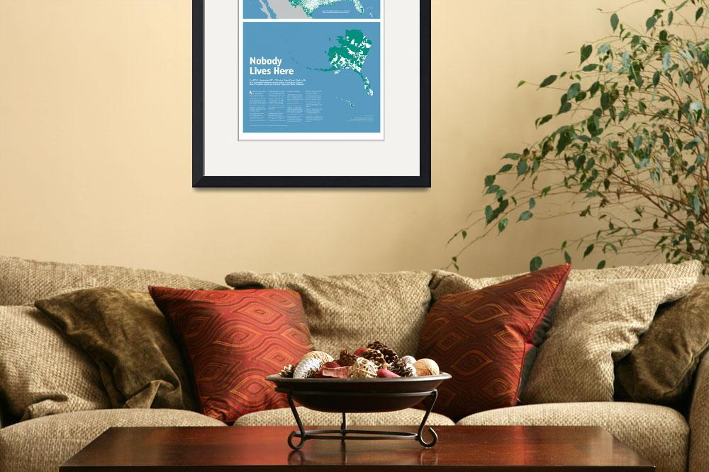 """""""Nobody Lives Here Map Print&quot  (2014) by mapsbynik"""