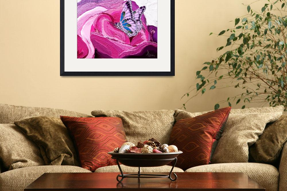 """""""Butterfly on rose painting&quot  (2011) by night"""