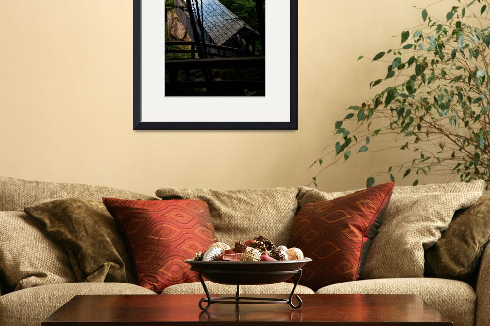"""""""Covered Bridge at Flume Gorge&quot  (2011) by Peter-A-Kopher"""