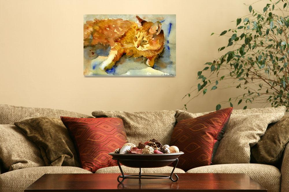 """""""Tabby Lights, Watercolor Painting Animal Orange Ca&quot  (2008) by schulmanart"""