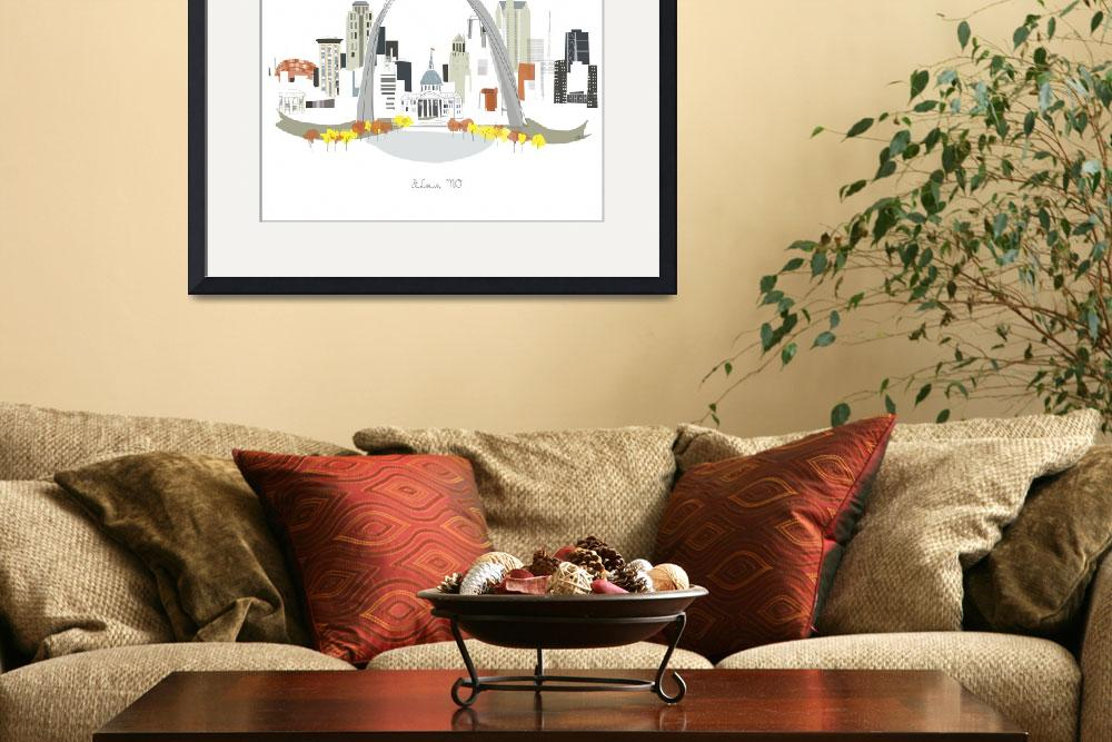 """""""St. Louis Modern Cityscape Illustration""""  by AlbieDesigns"""