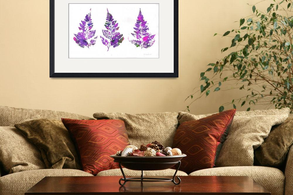 """Purple Fern Leaves Abstract Triptych&quot  (2007) by RDRiccoboni"