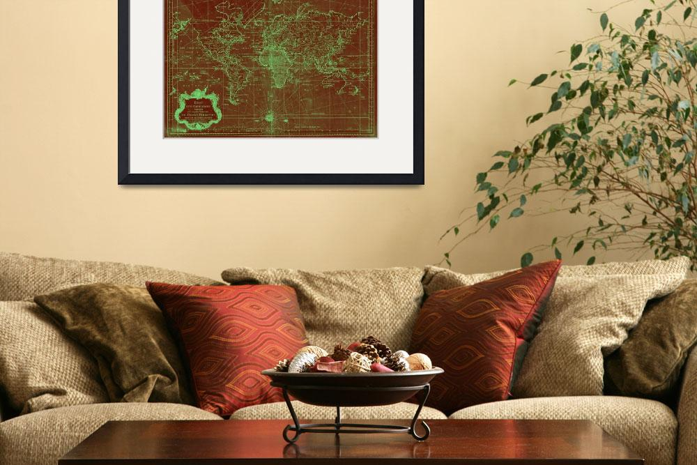 """World Map (1778) Red & Light Green&quot  by Alleycatshirts"