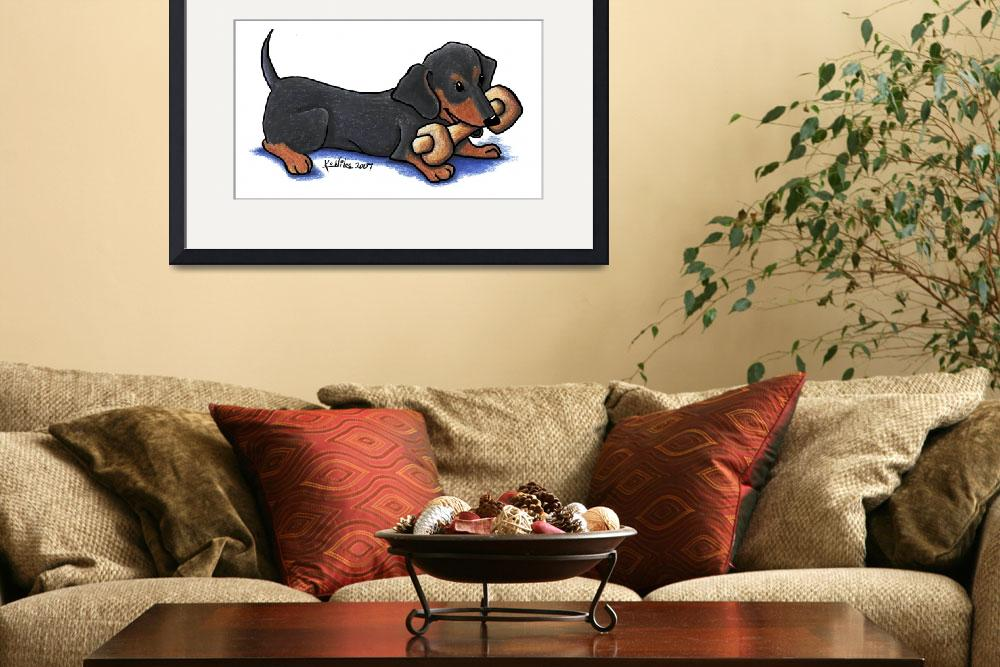 """Dachshund with Bone&quot  (2007) by KiniArt"