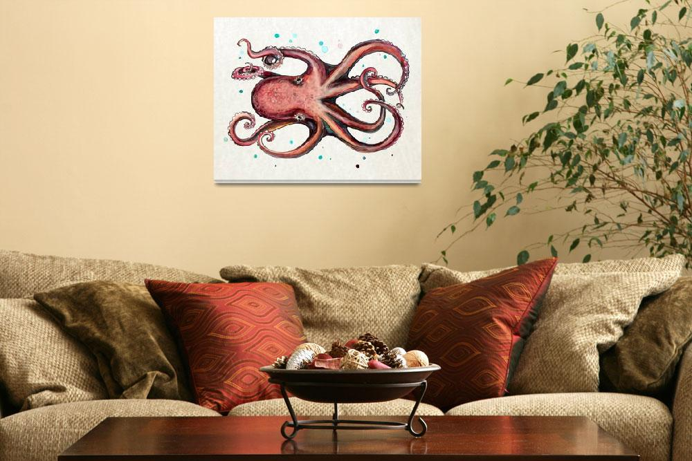 """""""Octopus in Watercolor""""  (2016) by Littlepig"""