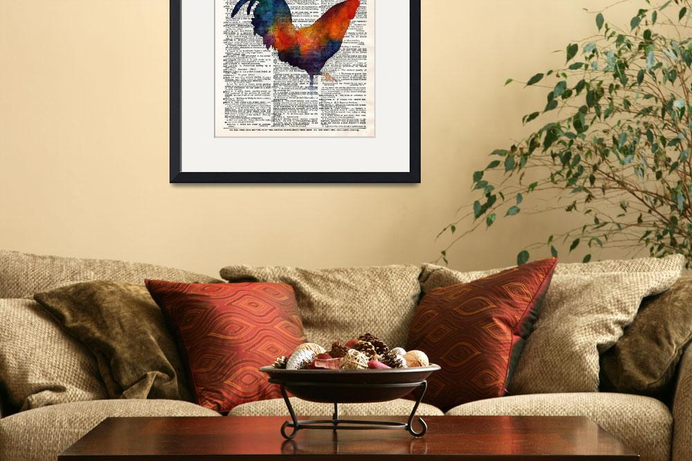 """""""Colorful Rooster on Vintage Dictionary&quot  by HaileyWatermedia"""