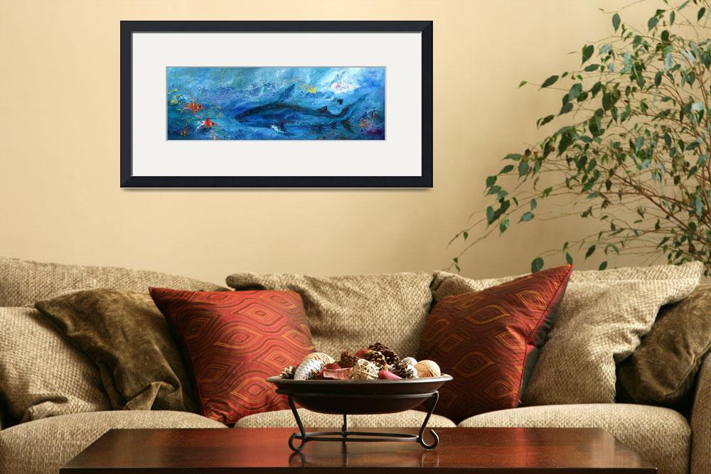 """Abstract Marine Life Shark and Corel Reef Fish""  (2012) by GinetteCallaway"