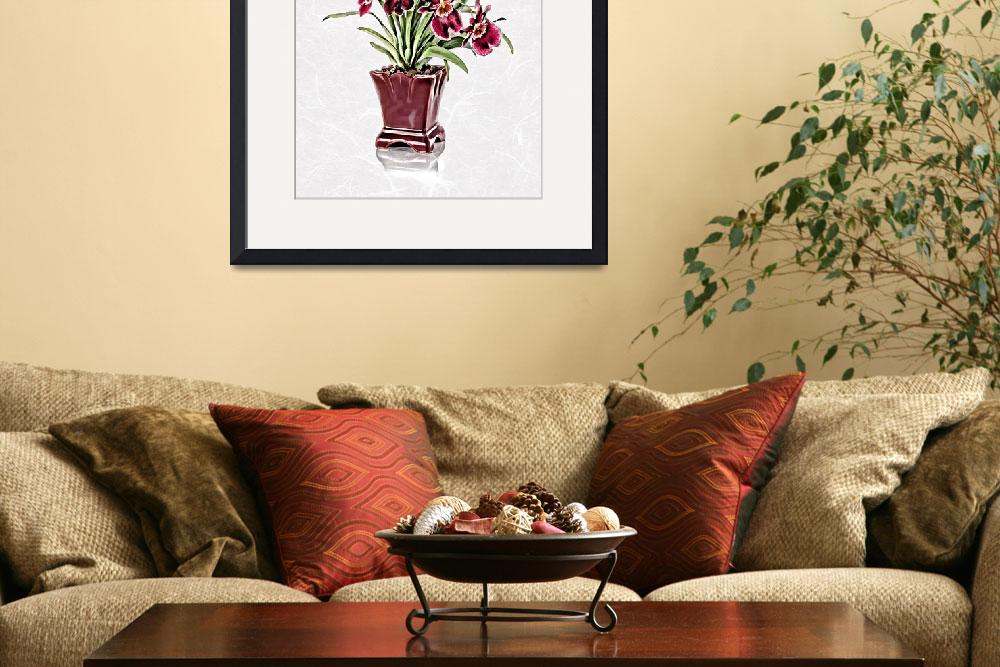"""""""Burgundy Orchids in Claret Vase on White Rice Pape&quot  (2018) by ElainePlesser"""