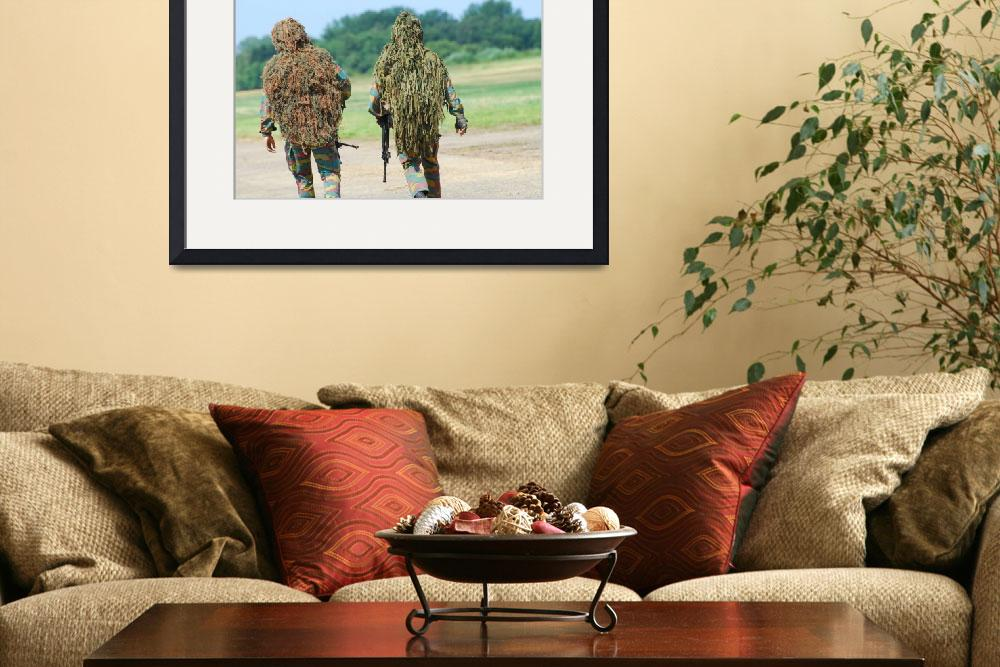 """Two snipers of the Belgian Army dressed in ghillie&quot  by stocktrekimages"