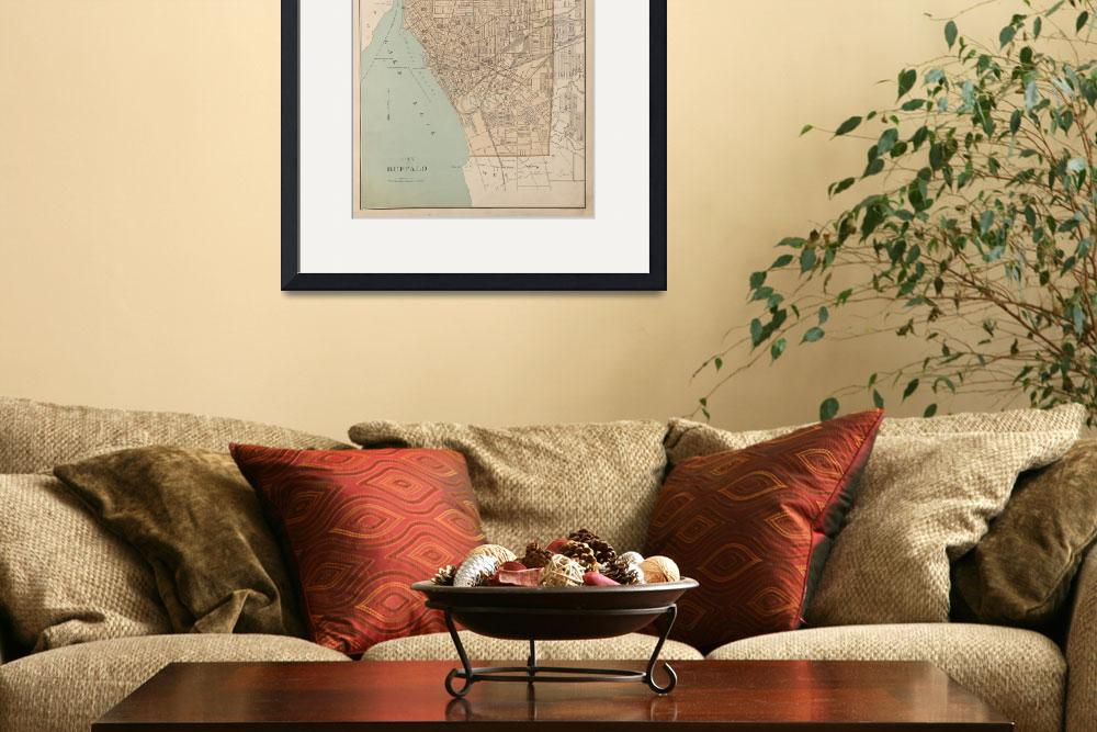 """Vintage Map of Buffalo NY (1895)&quot  by Alleycatshirts"