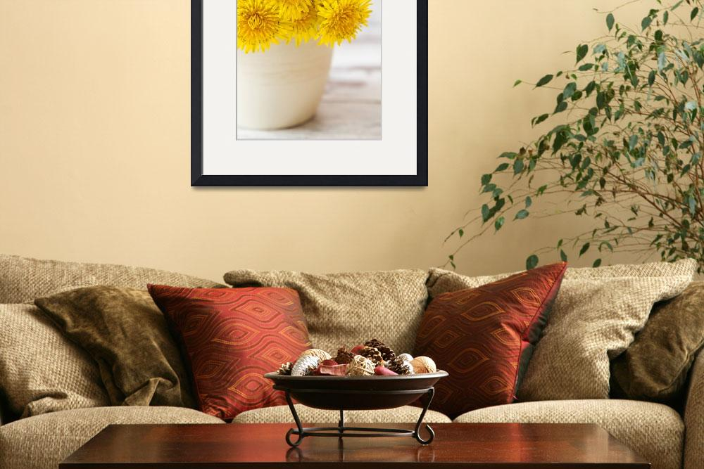 """Yellow dandelions in white flower pot&quot  (2014) by sebnemkoken"