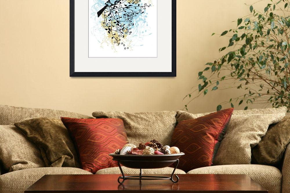 """""""Perched on High - Bird on Branch - Contemporary Il""""  (2008) by kristensteinfineart"""