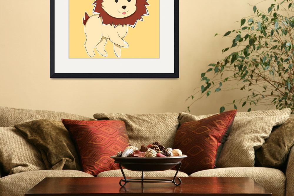 """""""Happy Cartoon Baby Lion&quot  (2017) by Catifornia"""