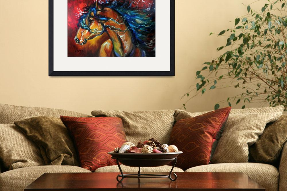 """""""RED THUNDER INDIAN WAR HORSE""""  (2012) by MBaldwinFineArt2006"""