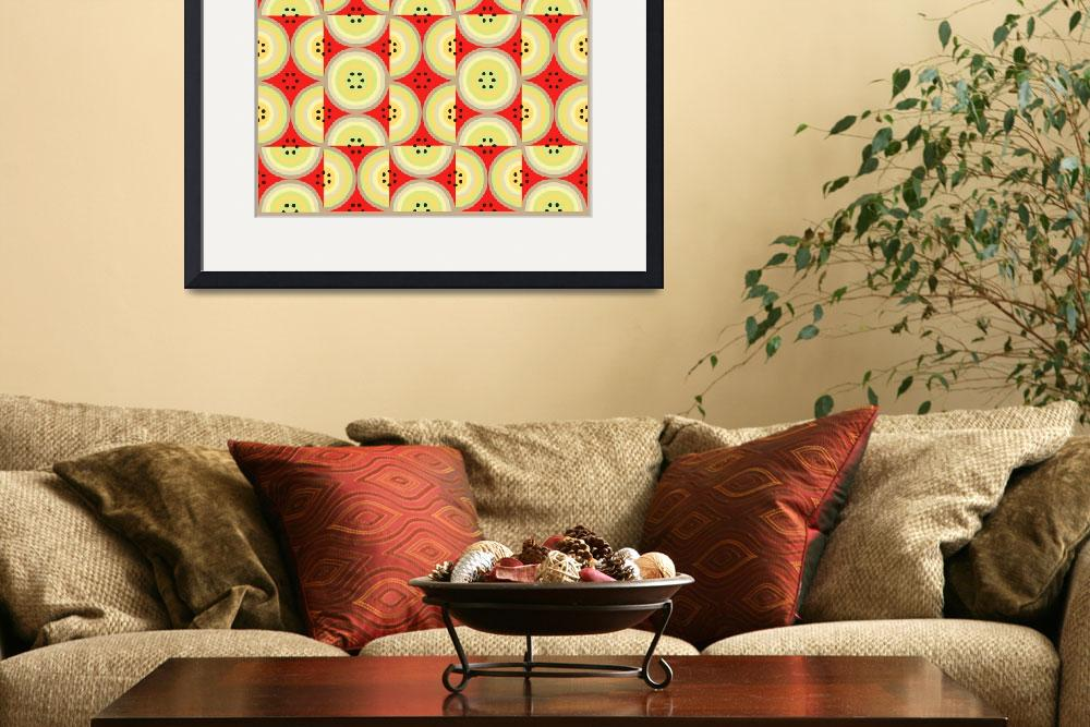"""Circles Olive Red yellow taupe AB large&quot  (2009) by LeslieTillmann"