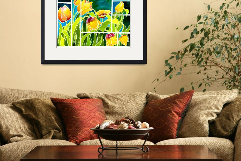 """""""Tulips in """"Stained Glass""""&quot  (2009) by janlan44"""