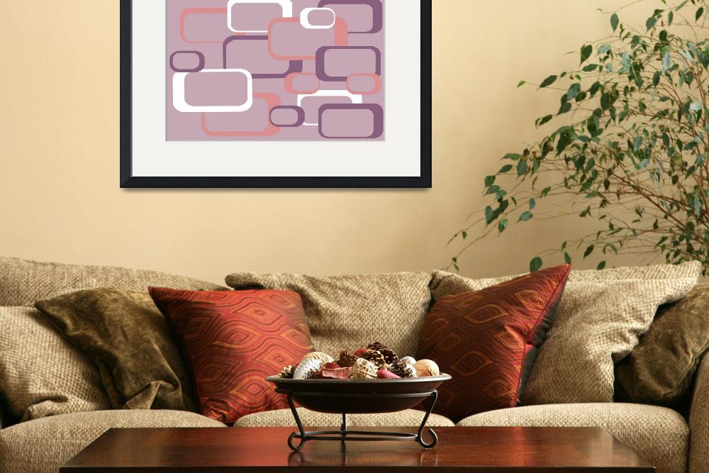 """Pink Purple White Retro Square Pattern""  (2018) by ValeriesGallery"