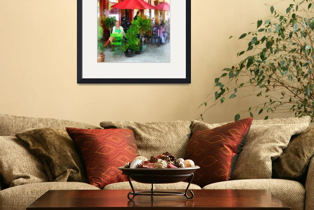 """Outdoor Cafe with Red Umbrellas&quot  (2012) by susansartgallery"