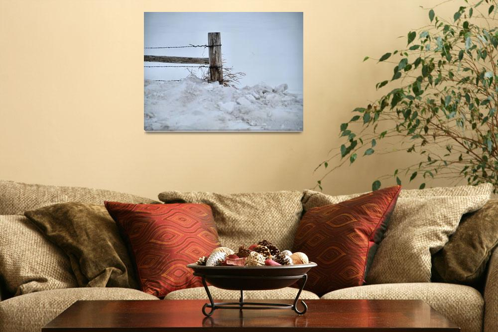 """""""Rustic Gate Post in Snow""""  (2011) by DryFlyPhotograhy"""