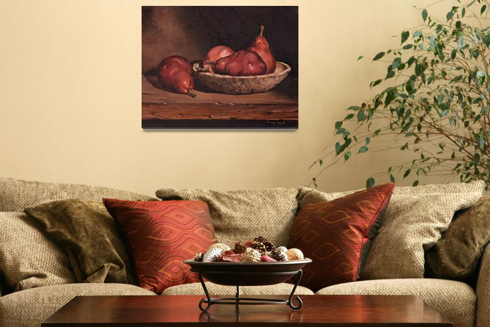 """Pears and Wood Bowl&quot  (2009) by powellfineart"