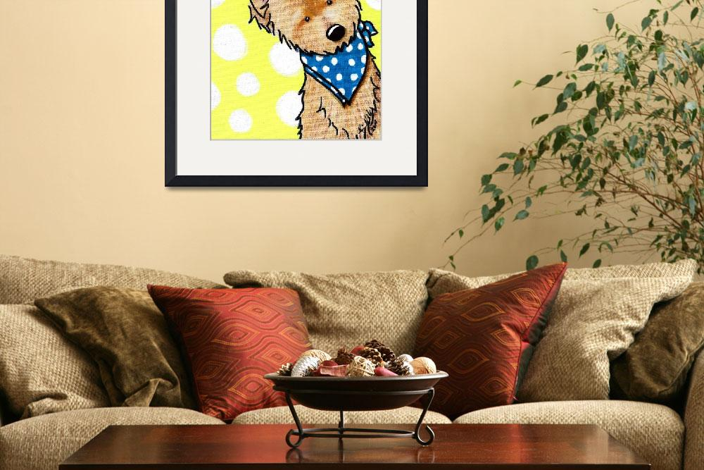 """Cairn Terrier on Dotted Yellow&quot  (2011) by KiniArt"