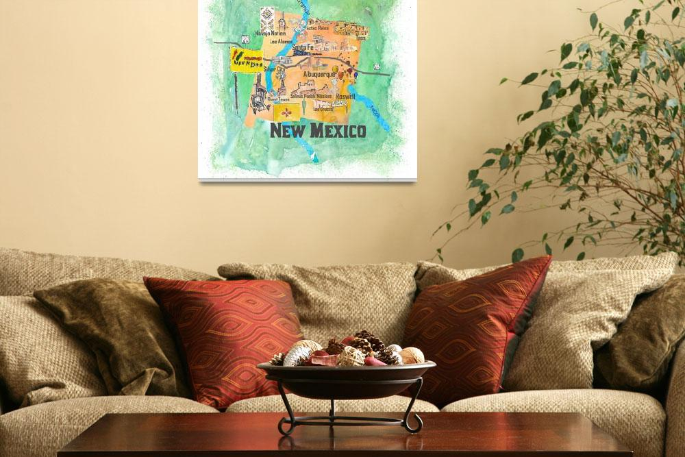 """""""USA New Mexico Travel Poster Illustrated Art Map&quot  (2018) by arthop77"""
