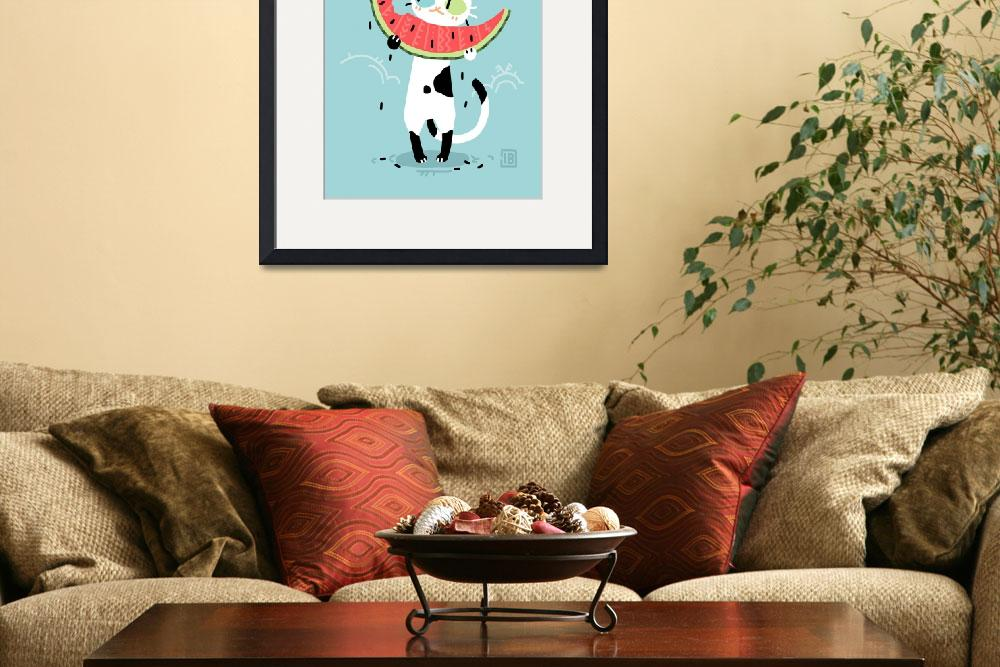 """""""Watermelon Cat&quot  (2015) by freeminds"""