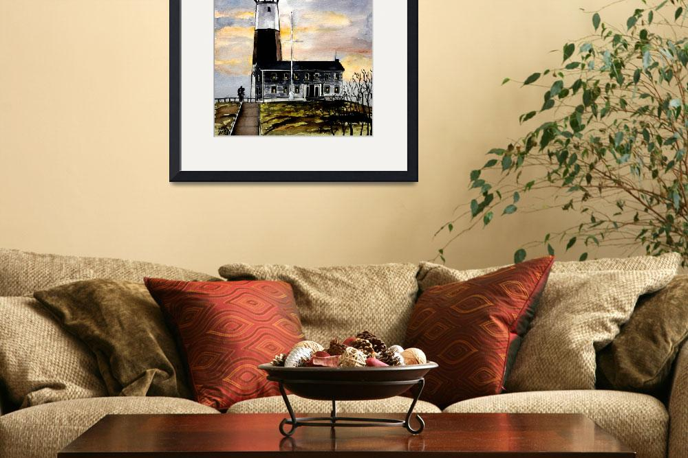 """montauk point lighthouse painting new york art&quot  (2008) by derekmccrea"