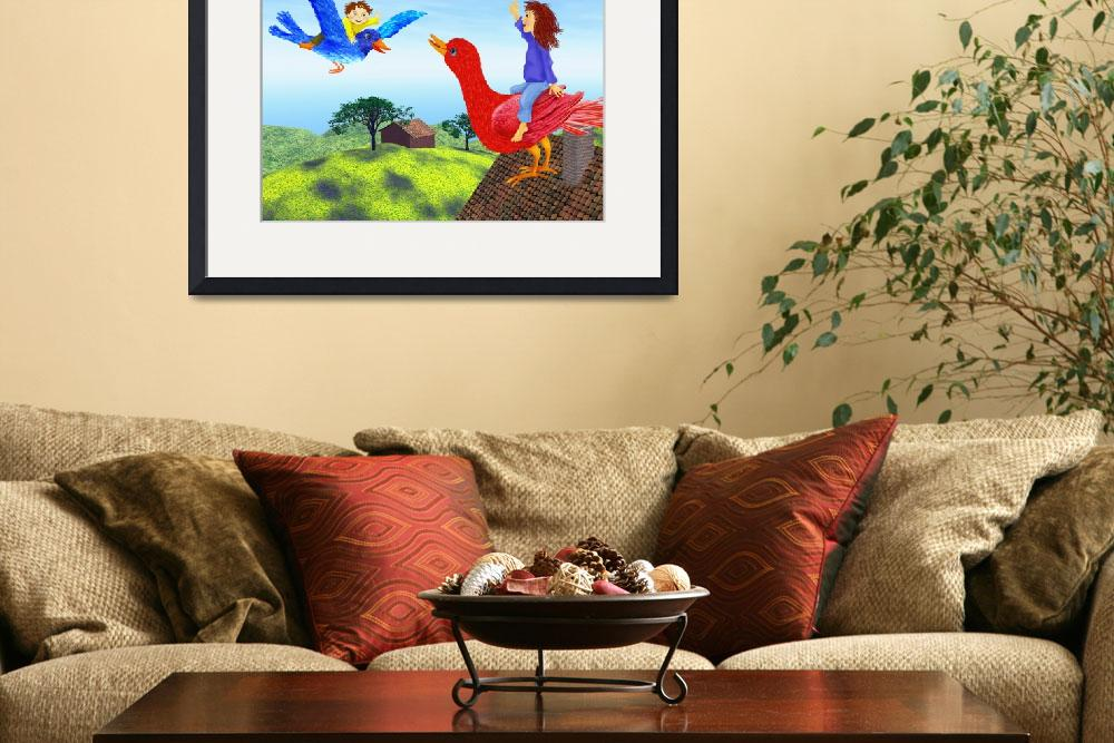"""green,blue,childrens room,nursery decor,canvas art""  (2010) by MarianneIlevitzky"