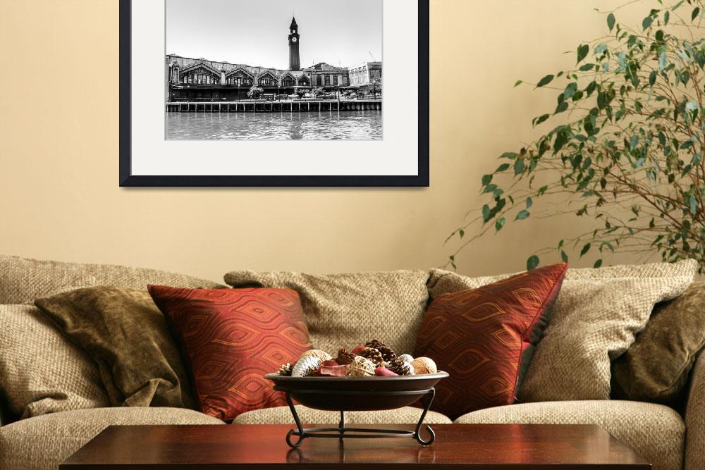 """""""Hoboken Terminal Clock Tower  BW&quot  (2011) by photocatphoto"""