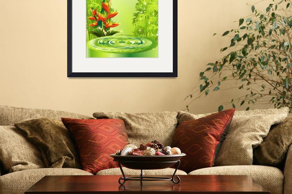 """""""Zen Green Bamboo Heliconias and Water&quot  (2011) by BluedarkArt"""