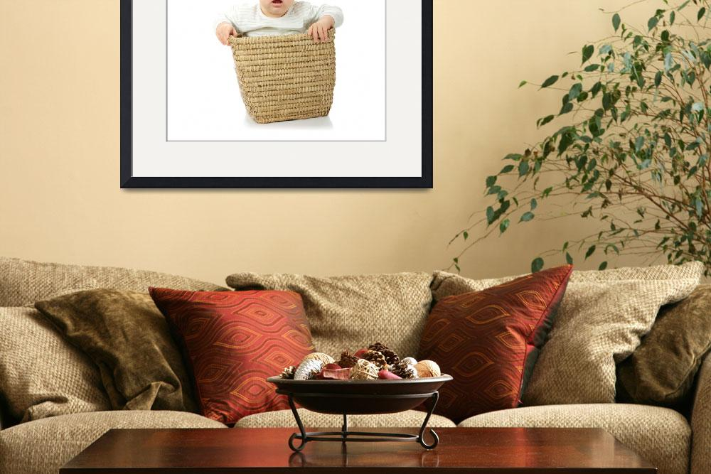 """""""Young baby girl in basket&quot  (2008) by Piotr_Marcinski"""