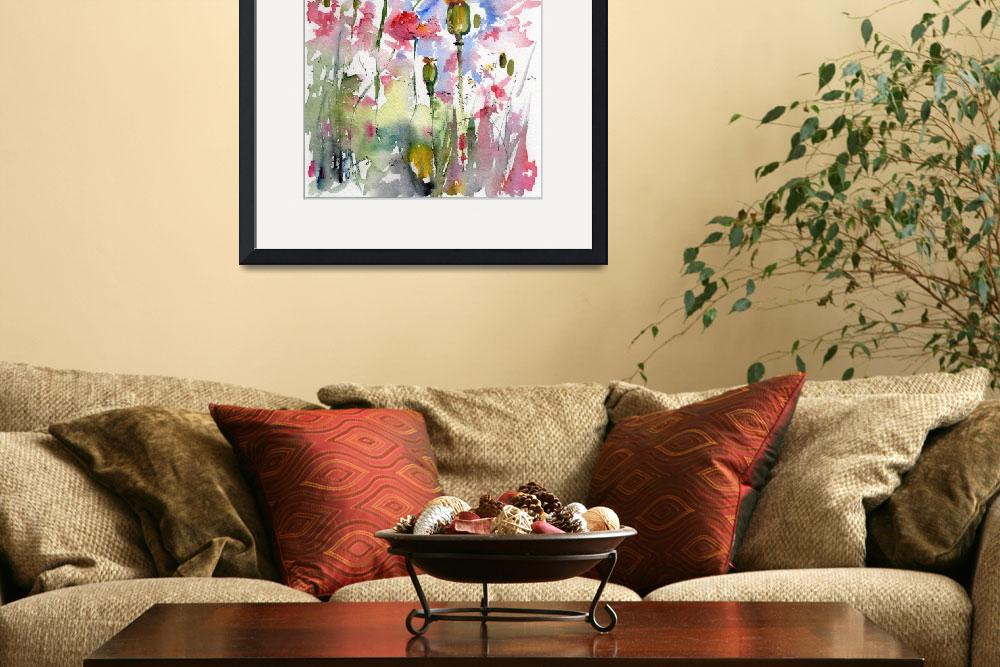 """""""Pink Poppies Pods and Bees Watercolor by Ginette&quot  (2013) by GinetteCallaway"""