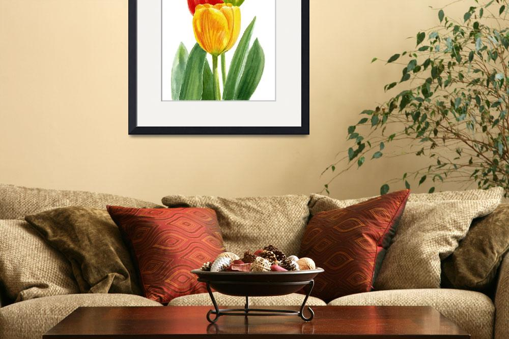 """""""Orange and Yellow Tulips with Bud""""  (2015) by Pacific-NW-Watercolors"""