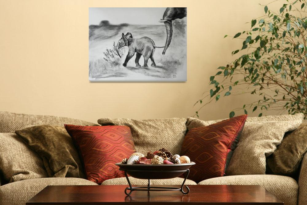 """""""Baby Elephant. Charcoal drawing&quot  (2013) by kiravru"""