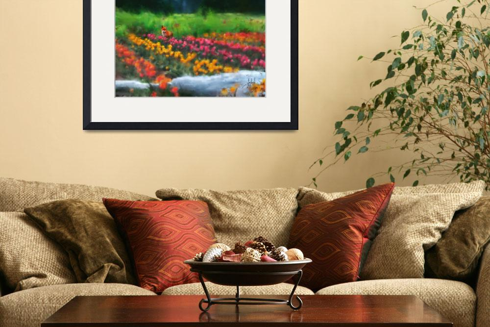 """""""Fox Watching Tulips&quot  (2007) by Stephensfineart"""