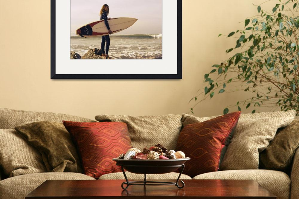 """Young Woman With Her Surfboard At The Beach, Tarif""  by DesignPics"
