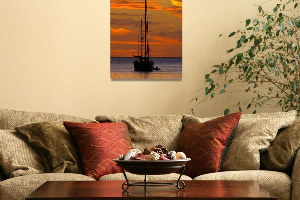 """Sailing boat in Charlotteville, Tobago""  (2010) by veitschuetz"