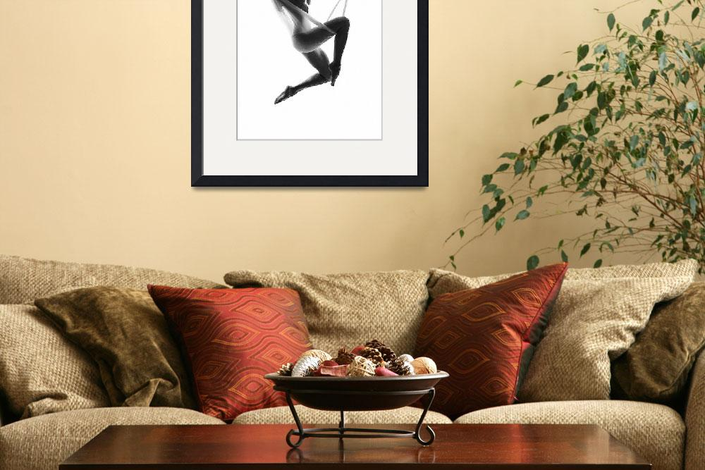 """Nude Woman Suspended On Silk Black On White&quot  by RubinoFineArt"
