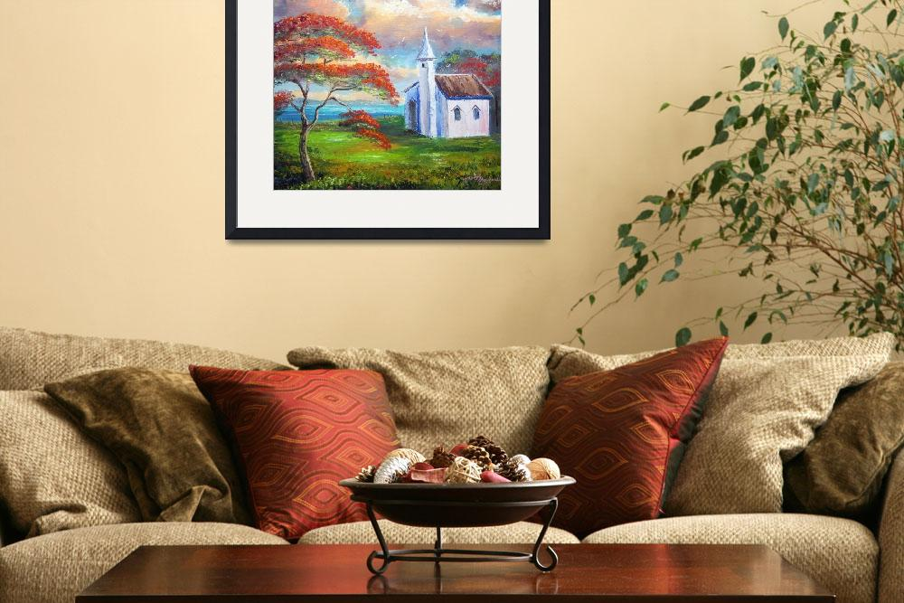 """""""Old Church and Royal Poinciana Tree""""  (2009) by mazz"""