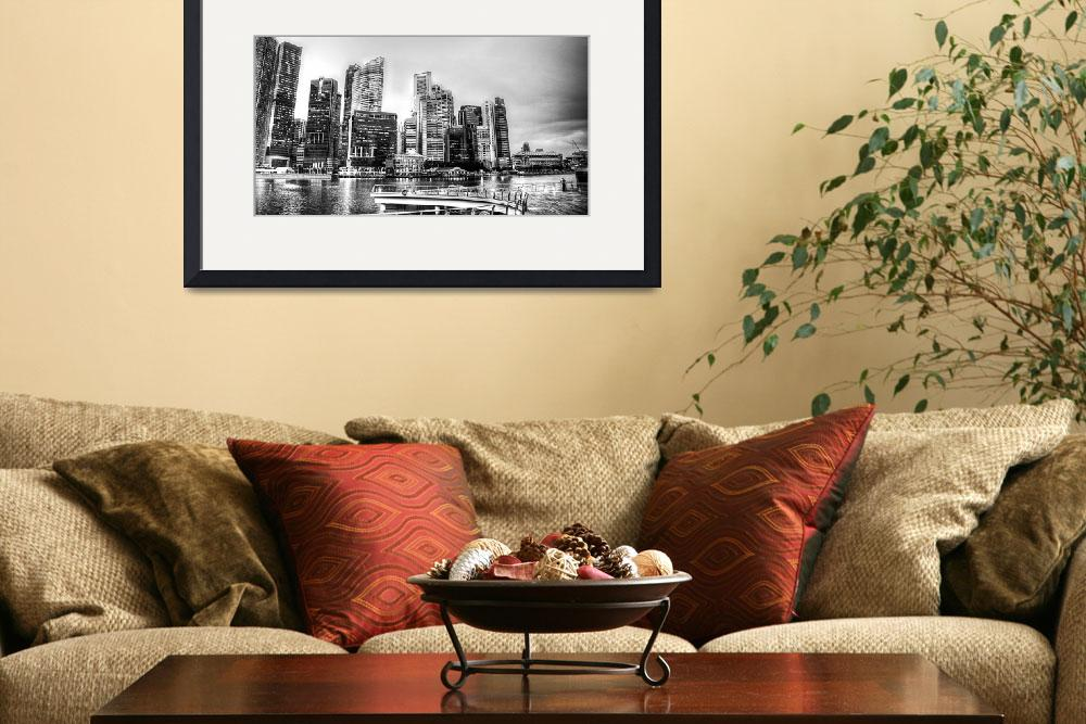 """""""Black and White Photography - Cityscape Singapore&quot  by sghomedeco"""